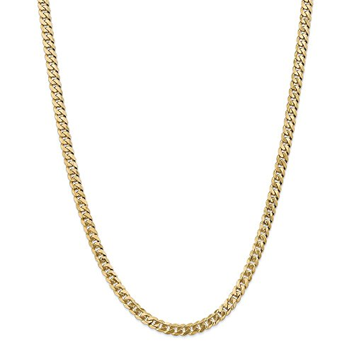Solid 14k Yellow Gold Big Heavy 5.75mm Flat Beveled Cuban Curb Chain Necklace 22