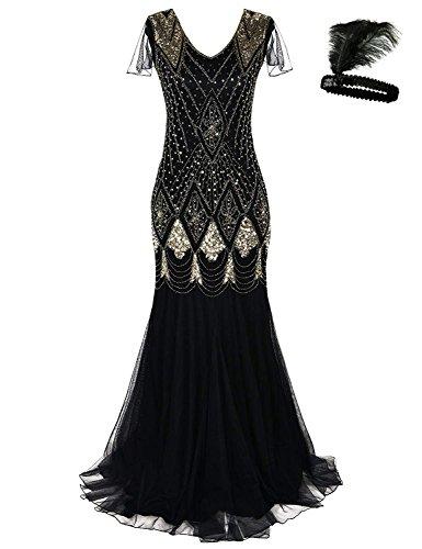 (Women 1920s Flapper Cocktail Maxi Long Gatsby Evening Dress Mermaid Formal Gown (Black/Gold,)