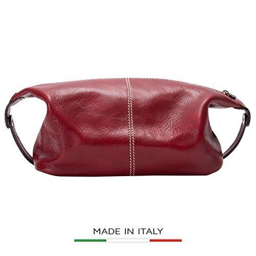 Alberto Bellucci Mens Italian Leather Milano Toiletry Travel Dopp Kit Case in Red by Alberto Bellucci