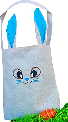 Baby Toddler Easter Baskets with Easter Bunny Face ( Blue Lining Linen Canvas Bag Tote - Not Personalized) (Toddler Easter Basket Ideas)