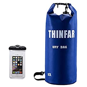 Waterproof Dry Sack-Durable Roll-top Closure Dry Bags along with Waterproof Touch Screen Friendly Phone Case for Rafting, Boating, Hiking, Camping,Swimming and Fishing Blue 10L