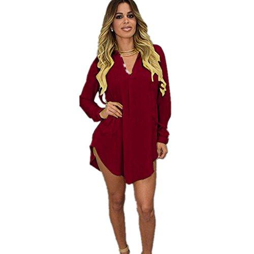 L'automne Rouge Shirt Mousseline Casual Manche Blouse V Chemise Longues Printemps Newbestyle Robe Blouse Femme Le et Femme Col Longue Top pour FARHwxq4