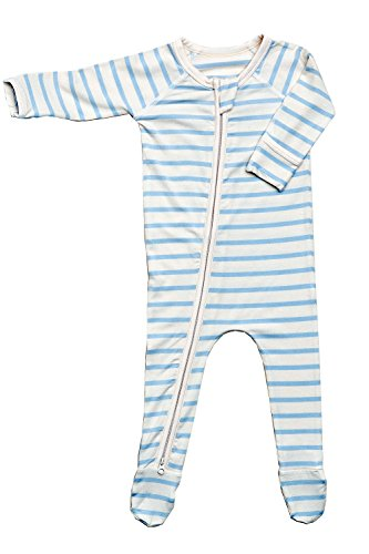 - Boody Body Baby EcoWear Long Sleeve Onesie - Soft Blanket Sleeper with Built in Mittens Made from Natural Organic Bamboo - Soft Eco Fashion for Sensitive Skin - Striped Sky Blue-Chalk, 0-3 Months