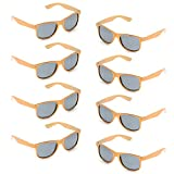 Neon Colors Party Favor Supplies Unisex Sunglasses Pack of 8 (Gold)