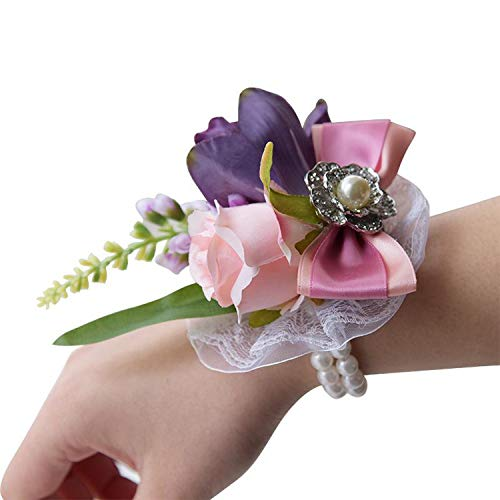 Wedding Bride Team Pearl Bracelet Wrist Flower Girls Party Favor Rose Corsage Party Hand Decorative Artificial Flower,Pink]()