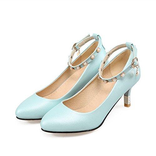 Allhqfashion Womens Spitse Gesloten Teengesp Pu Solid Kitten Hakken Pumps-schoenen Blauw