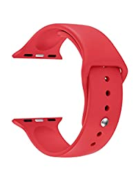 Apple Watch Replacement Band - LNKOO Soft Silicone Replacement Sports Wristbands Straps for Apple Wrist Watch iWatch All Models Formal Colors S/M Size-42mm/Red