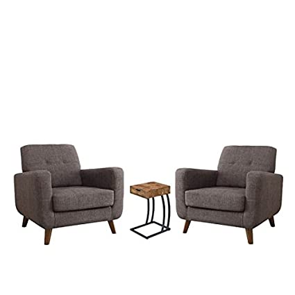 Sqaure Mid Century Modern Accent Chairs.Amazon Com Home Square 3 Piece Living Room Set With End Table And