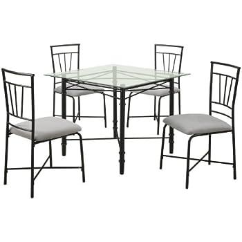 Nice Dorel Living 5 Piece Glass Top Metal Dining Set