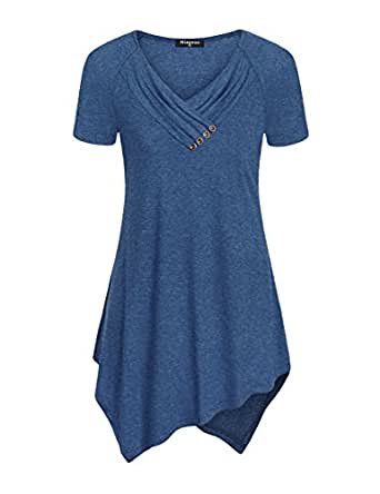 Miagooo Irregular Hem Tunics for Womens, Ladies Large Short Sleeve Tops Cowl Neck Tunic Work Semi-Formal Tops Swing Trendy Embellished Button Elegant Dressy Latest Tunic Shirt for Office Blue Small