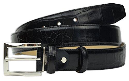 Pasquale Cutarelli Mens Crocodile Pattern Italian Leather Belt (7167) Black 42 inches