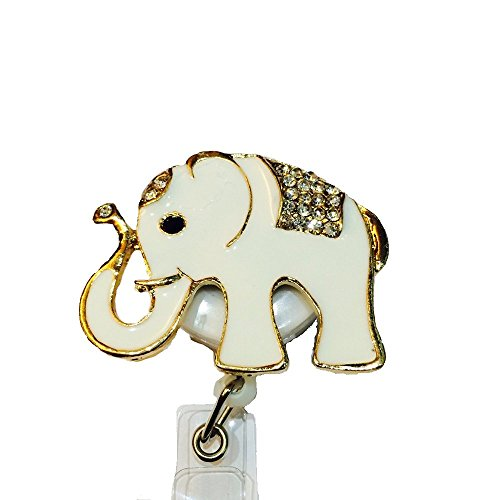 Bling Rhinestone white Indian elephant blossom Decorated Retractable Badge Reel ID Holder with Clip Backin