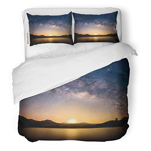Semtomn Decor Duvet Cover Set Twin Size Beautiful Landscape Mountains and Lake in The Night Milky 3 Piece Brushed Microfiber Fabric Print Bedding Set Cover