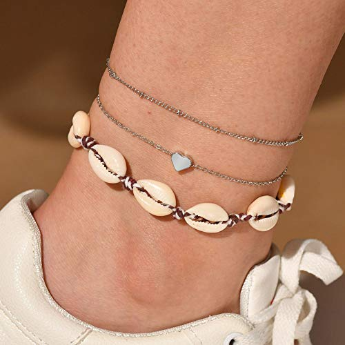 broadfashion-us Bluelans 3pcs Bohemian Style Fashion Shell Heart Charm Anklet Chain Summer Beach Barefoot Ankle Bracelets for Women and Girls Jewelry Gift Silver