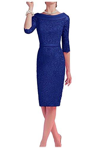 Etuikleider Brautmutterkleider Blau Royal Ballkleider Partykleider Abendkleider Kurz Charmant Damen Knielang wY7qP710