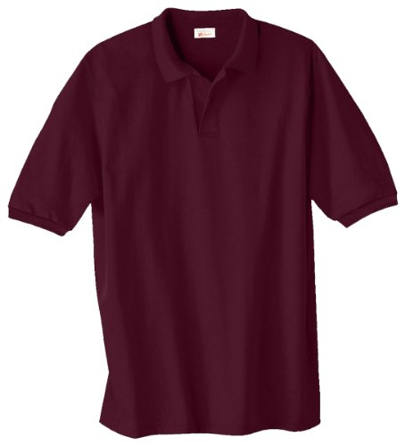 Hanes Adult EcoSmart Jersey Polo, Maroon, Large Basic Mens Polo Shirt