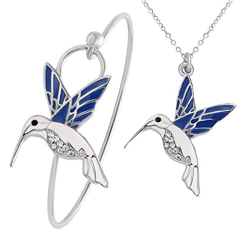 SENFAI Tiny Trochilus Charm Bracelet Blue Hummingbird Bangle Female Pendant Necklace (Silver Necklace + Bracelet)
