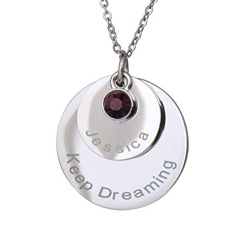Disc Engraved (HUAN XUN Personalized Custom Name Disc Pendant Necklace with Birthstone Personal Jewelry Birthday Valentine Gift)