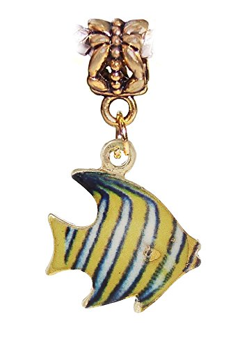 Tropical Fish Yellow Blue Enamel Gold Charm for European Bracelets