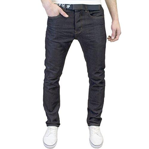 Glory Mens Jeans - Life & Glory Mens Designer Branded Straight Fit Jeans w/Free Belt (36W x 30L, Rinsewash)