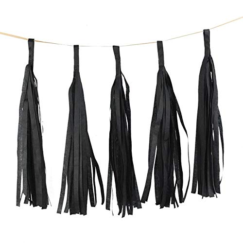 VDV Artificial Flowers 5pcs 14inch Gold Silver Tissue Paper Tassel Christmas Decoration Birthday DIY Hanging Garland Wedding Event Party Supplies Used Artificial Flowers-Black