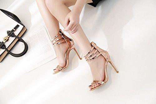 ZHZNVX Los nuevos zapatos de tacón alto-alto ranurado fino ayuda con sandalias romanas y elegante solo zapatos champagne