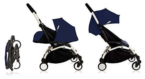 Babyzen Yoyo+ Stroller - White Frame - 0+ Newborn Pack - 6+ Color Pack - Air France Blue by Baby Zen