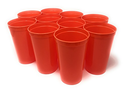 CSBD 10 Pack Blank 22 oz Plastic Stadium Cups Bulk - Made In USA, Reusable or Disposable, Great For Customization, Monograms, Marketing, DIY Projects, Weddings, Parties, Events (10, Orange) ()