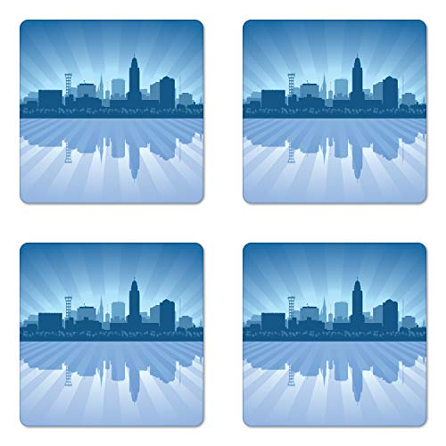 Ambesonne Nebraska Coaster Set of 4, Lincoln City Skyline Silhouette Illustration in Blue Metropolis Buildings, Square Hardboard Gloss Coasters for Drinks, Blue and Ceil Blue -