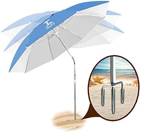 AosKe Patio Umbrella Beach Umbrella Sports Umbrella Portable Sun Shade Umbrella Inclined Heat Insulation Antiultraviolet SPF 50 Sky Blue