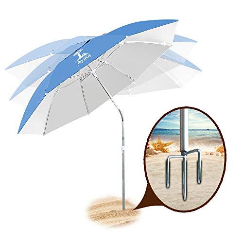 (AosKe Patio Umbrella Beach Umbrella Sports Umbrella Portable Sun Shade Umbrella Inclined Heat Insulation Antiultraviolet SPF 50+ Sky Blue)