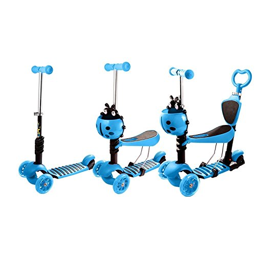 Pesters 5 in 1 Adjustable Height Kids Kick Scooter Deluxe 3 Wheel with LED Light Up Wheels(US STOCK) (Blue) -