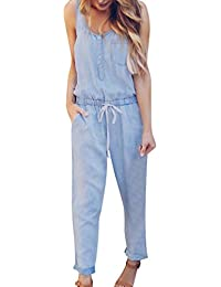 Womens Denim Jumpsuits Summer Holiday Jeans Playsuit...