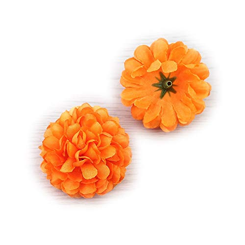Flower Head in Bulk Wholesale for Crafts Silk Carnation Artificial Pompom Mini Hydrangea Party Home Wedding Decoration DIY Fake Wreaths Festival Decor 30pcs 5cm (Orange)]()