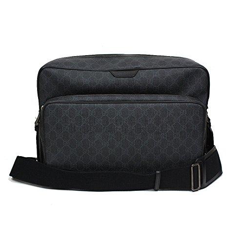Gucci Leather Messenger Bag - Gucci GG Supreme Canvas Leather Messenger Bag Grey/Black 319812