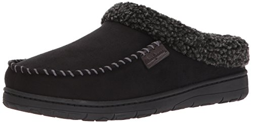 Dearfoams Men's Microsuede Clog Slipper �?Padded Slip-ONS With Memory Foam Insole, Can Be Worn Indoors and Outdoors Black