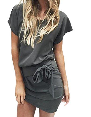 Pipistrello Manica Dress Immagine Jaycargogo Sottile Mini Donne Abito Wrap Bodycon Come wAEE6581q