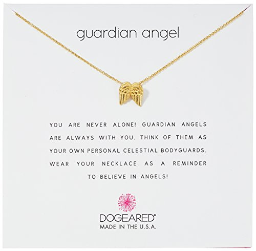 Dogeared Guardian Angel Gold Dipped Sterling Silver Angel Wings Charm Pendant Necklace