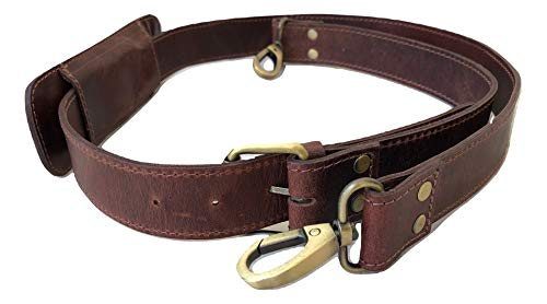Vintage Stuff Leather Replacement Shoulder Strap Brown match for Handbags, Duffel Bags, Messenger Bags, Briefcases, Tote, Satchel Fits all and Adjustable with Metal Swivel Hooks