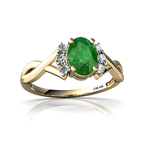 14kt Yellow Gold Emerald and Diamond 7x5mm Oval Victorian Twist Ring - Size 9 (Emerald 9x7 14kt Gold)