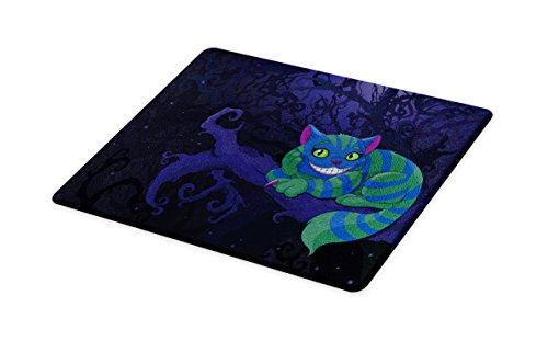 - Lunarable Alice in Wonderland Cutting Board, Chester Cat Sitting on Branch Fairytale Forest with Character, Decorative Tempered Glass Cutting and Serving Board, Small Size, Green Blue Purple