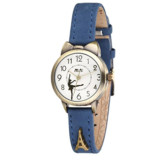 Soft Leather Girl's Dress Watches - fq234 Analog Wristwatches Ballet Dancer Series, Blue Strap