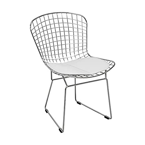 Amazing Mod Made Mid Century Modern Chrome Wire Dining Side Chair For Dining Room Kitchen Or Outdoor White Creativecarmelina Interior Chair Design Creativecarmelinacom