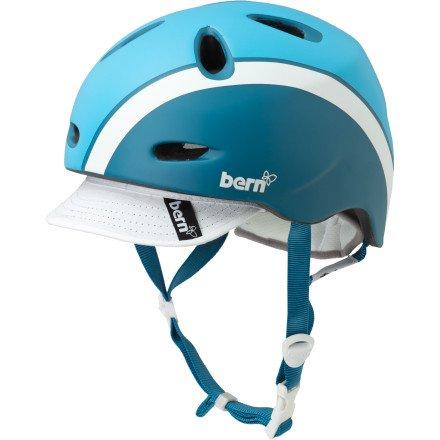BERN Berkeley Summer Matte Helmet with Visor (Atlantic Blue Bomber, Small)