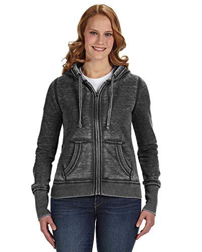 J. America Ladies' Zen Full-Zip Fleece Hood-Twisted Black-XS