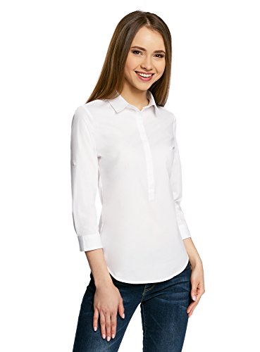 Manches 1000n Ultra Ajuste Coupe Chemise Basique Blanc oodji Femme Rglables CBYwqgn