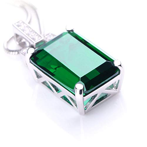 ANGG Women 6ct Green Emerald Cut Necklace Pendant 925 Sterling Silver Jewelry