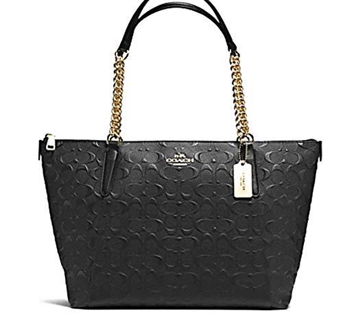 Coach 49499 Signature Leather Ava Chain Tote Black