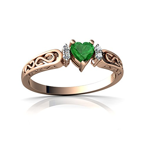 14kt Gold Emerald and Diamond 4mm Heart filligree Scroll Ring