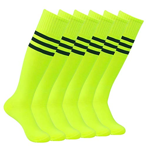 Football Team Socks, Atrest Mens Womens Over Knee Solid Sport Striped Arch Support School Uniforms Socks For Soccer Volleyball Camp Fluorescent Green+Black Stripe 6 Pairs